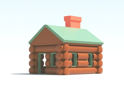Cabin (Chunky) octane c4d render 3d escape retreat windows doors lumber firewood fireplace chimney nature woods cabin chunky toy