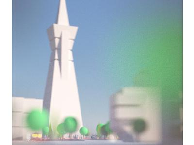 Transamerica Pyramid octane city sky future self driving car trees blur cinema 4d c4d dof render 3d transamerica pyramid pyramid transamerica