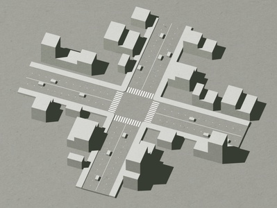 Intersection urban planning urban street walk blocks flow traffic cars block architecture buildings c4d render 3d intersection