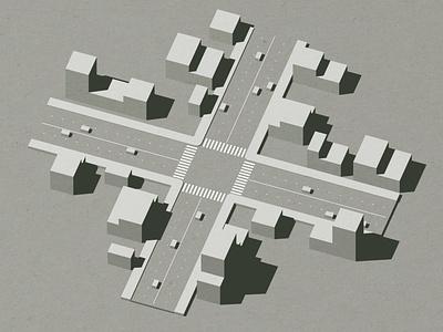 Intersection urban planning urban street walk blocks flow traffic cars block architecture buildings c4d render 3d intersection