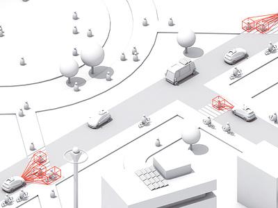 LiDAR Tech Test autonomous self driving cruise bolt vehicle city architecture landscape cinema 4d 3d c4d render