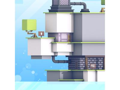 Fez (Final Sneak) fez polytron 3d render c4d blocks cubes level game level tree