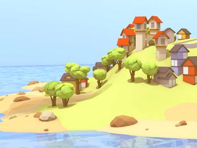 Island WIP island 3d render lowpoly low poly trees rocks houses c4d landscape cinema 4d