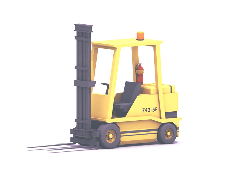 Forklift c4d forklift machine tires wheels factory 3d render lowpoly low poly utility cinema 4d