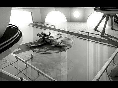 Concept Art - Ship Hangar concept art flightpad flight render 3d air space hangar ship
