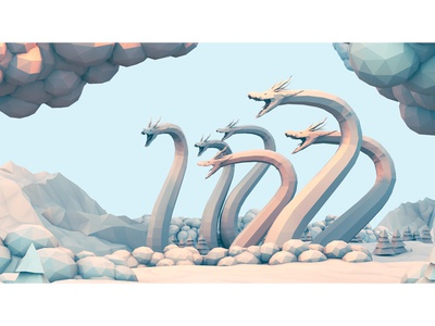 Hydra hydra monster 3d render lowpoly low poly landscape greyscale lighting dragon creature fantasy
