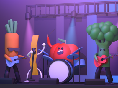 Getting The Band Back Together c4d render 3d lights stage guitar rock fries carrot tomatoes tomato broccoli concert music band vegetables veggies red robin