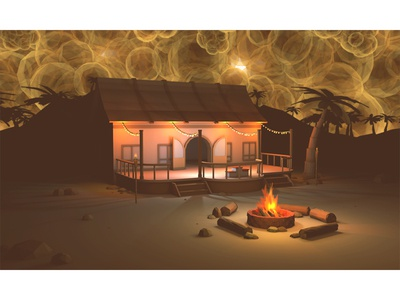 Night(mare) Test low poly nightmare lighting dark beach dusk campfire 3d render lowpoly party nighttime