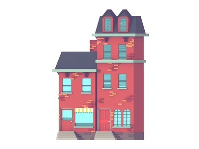 Night In The Woods nitw 3d render house home bricks architecture town city night in the woods fan art lowpoly