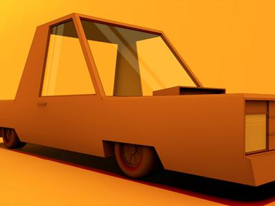 Junker car wreck model 3d extended lowrider orange tires wheels paint glass hood cinema 4d stunt car render