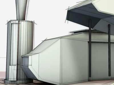 Spacedock space trailer park 3d render shelter architecture concept mobile home trailer park cinema 4d