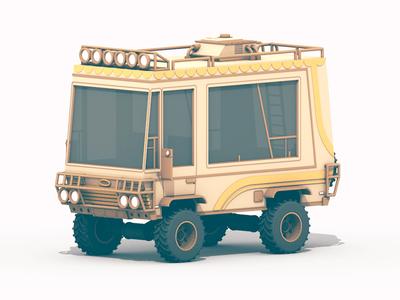 RV - Paint Job rv 3d render c4d cinema 4d recreational vehicle vehicle adventure adventuremobile model lowpoly low poly