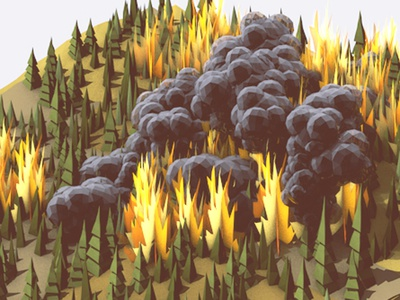 Wildfire WIP wildfire fire 3d render c4d lowpoly forest woods smoke billowing