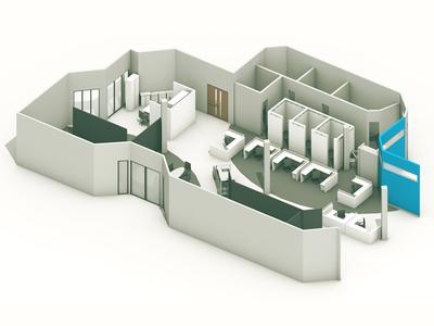 Office Floor Plan office 3d render model c4d floor plan architecture cinema 4d
