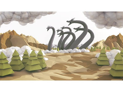 Magic the Gathering mtg magic the gathering 3d render hydra dragon lowpoly low poly landscape trees clouds 3d illustration