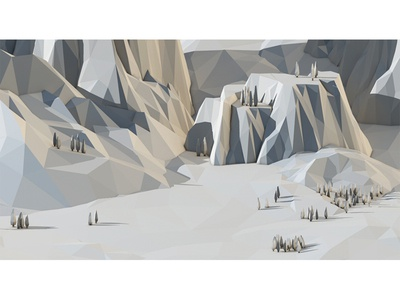 Scale Study scale 3d lowpoly polygons low poly mountains trees terrain landscape faceted render c4d