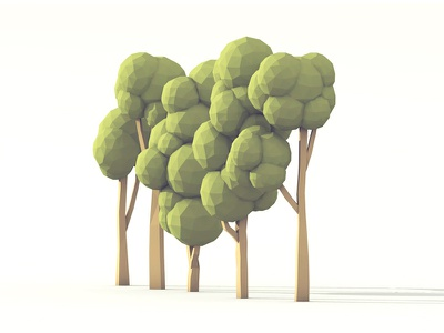 Trees trees polygon 3d render model c4d cinema 4d lowpoly low poly branches