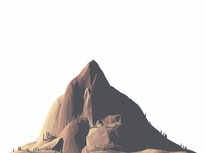 Mountain WIP mountain 3d render c4d lowpoly terrain trees scale 3d illustration lighting sunrise sunset