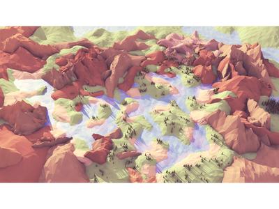 Landscape Studies landscape 3d render c4d lowpoly low poly terrain water rivers lakes mountain trees