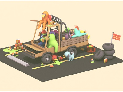 Ducks In A Truck! collaboration ducks 3d render collab c4d blender mess tailgate party parking lot model beer
