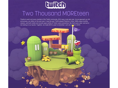Twitch 2014 Recap (Illustrations) 3d illustration video games 3d render c4d cinema 4d island gaming twitch lowpoly mario illustration