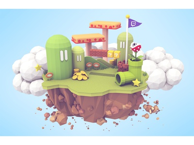 Island mario illustration lowpoly twitch gaming island cinema 4d c4d render 3d video games 3d illustration