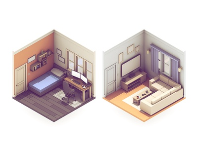Broadcasting Rooms broadcasting stream video games room 3d render living room bedroom couch bed twitch isometric