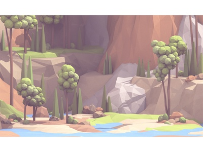 Landscape (WIP) landscape 3d render c4d lowpoly low poly terrain water rivers lakes mountain trees