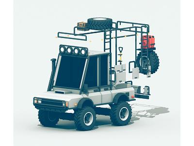 Conversion Shot utility 3d render truck vehicle unimog baja storage tires snorkel process c4d