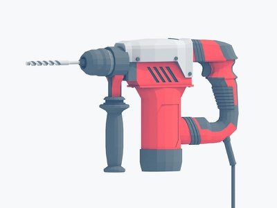 Rotary Hammer rotary hammer concrete cinema 4d tool drill power tool 3d render c4d lowpoly drill bit machine