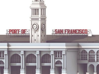 Ferry Building details 3d render building ferry building c4d cinema 4d architecture sf twitchcon twitch san francisco