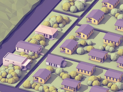 Town  town neighborhood render 3d c4d lowpoly houses home trees roads homes cinema 4d