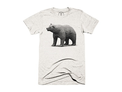 """Bear"" Shirt (Cotton Bureau)  big bear bear halftone 3d render animal polygon lowpoly shirt cotton bureau"