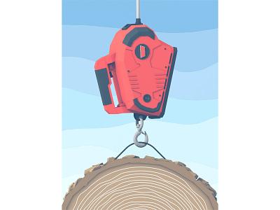 "Popular Mechanics - ""Backyard Tools"" popular mechanics 3d render c4d cinema 4d winch log cable hook backyard tools model"