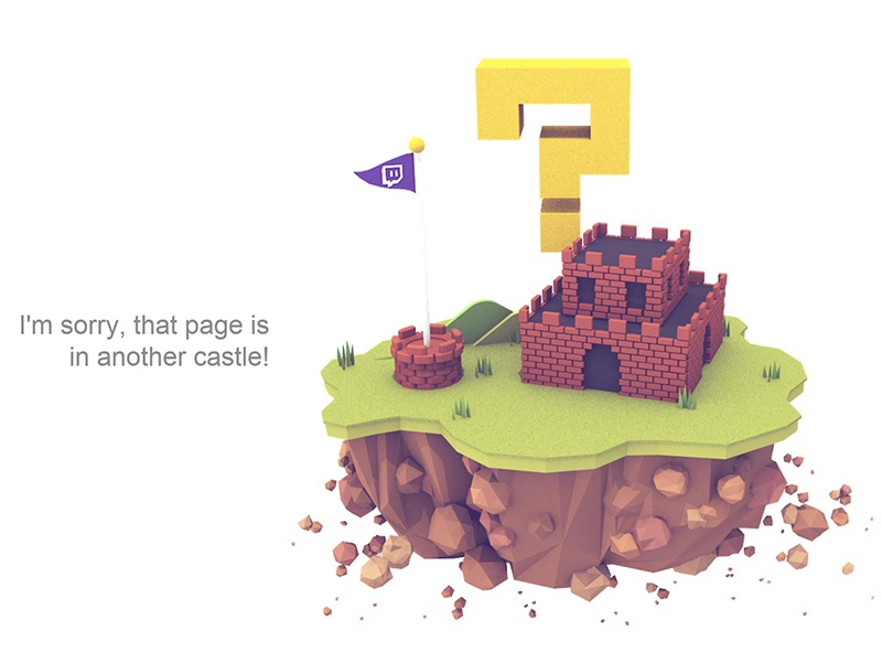 404 Page twitch question mark cinema 4d c4d grass pole castle mario island render 3d 404