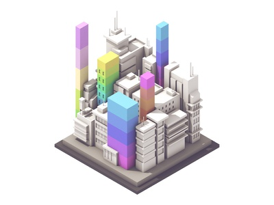 Fortune 500 illustration color city graph charts bars fortune magazine rectangles c4d companies render 3d
