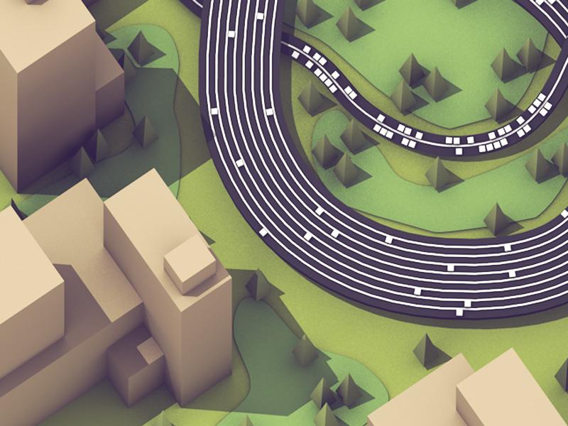 Data Lanes city landscape trees town buildings cinema 4d c4d model render 3d racetrack data