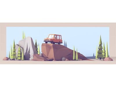 The Great Outdoors cinema 4d c4d car suv truck model render 3d boulders trees rocks nature