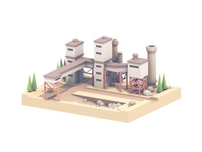 Factory Road landscape hill trees rocks dirt frame cinema 4d c4d render 3d industrial factory