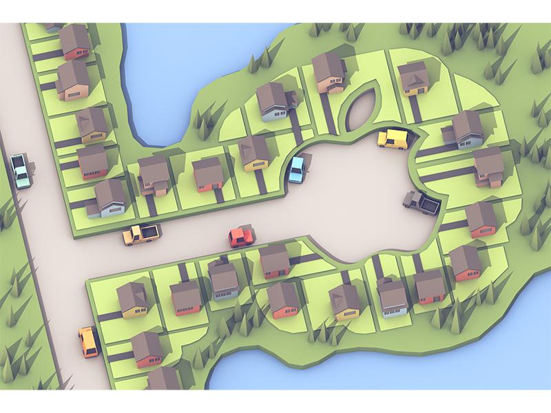 Neighborhood cinema 4d apple trees roads cars houses illustration model render 3d cul-de-sac neighborhood