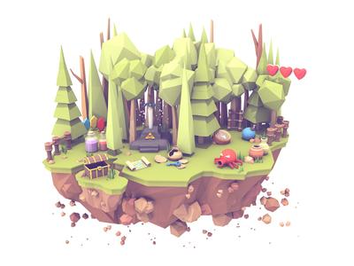 Adventure Island cinema 4d potion sword lowpoly rocks trees c4d render 3d island adventure