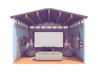 Living Room c4d render 3d vita playstation tv couch promo video twitch ps4 living room