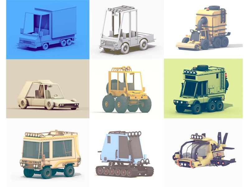 Vehicles wheels tires c4d submarine spacecraft car truck render 3d vehicles