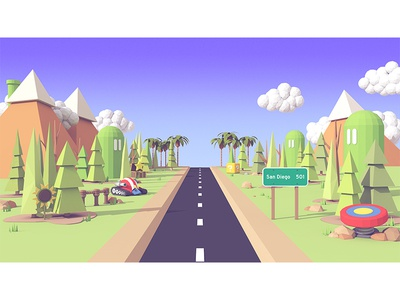 TwitchCon 2016 (Illustration) twitch landscape mountains road model render 3d twitchcon 2016 twitchcon
