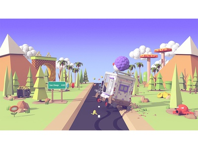 TwitchCon 2016 v.2 (Illustration) ice cream truck trees mountains road twitch illustration c4d render 3d twitchcon