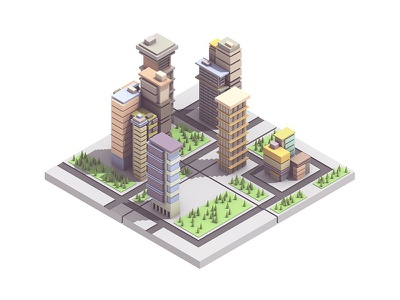 City isometric trees skyscrapers model urban streets city buildings architecture c4d render 3d