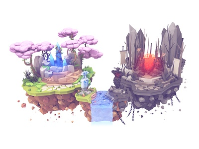 Fantasy Island low poly good evil cinema 4d radiant ancient water rocks islands c4d render 3d