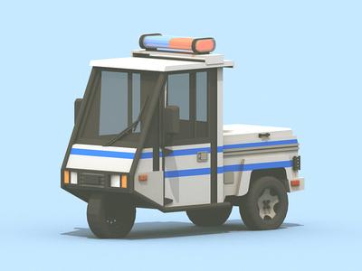 Meter Maid fake cop parking enforcer cinema 4d c4d collab 3-wheeler vehicle model render 3d meter maid