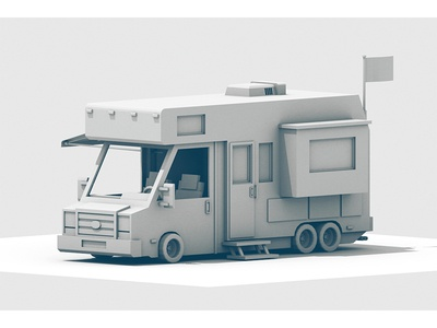 Recreational Vehicle truck recreational vehicle rv shitter was full econoline cinema 4d recreation vehicle c4d model render 3d