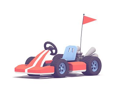 Go-Kart racing tires model twitchcon flag exhaust vehicle cinema 4d c4d render 3d go kart